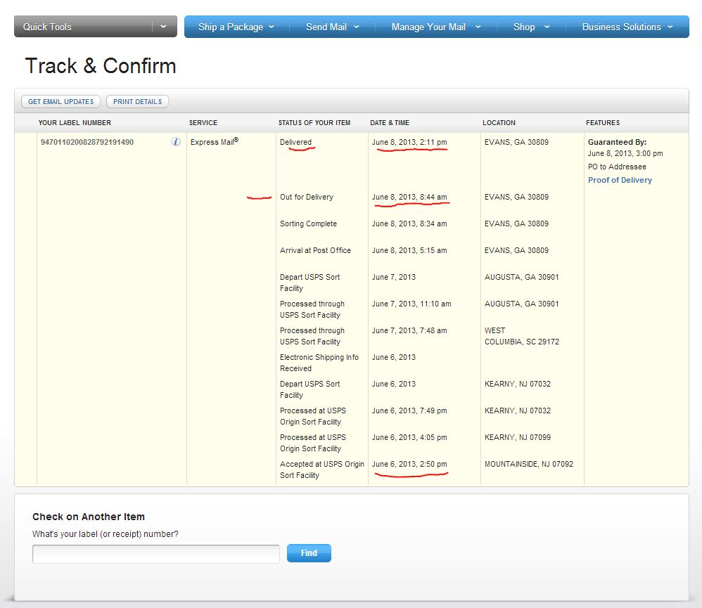 usps express mail not overnight 2 day delivery failure. Black Bedroom Furniture Sets. Home Design Ideas