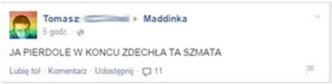 wpis na fanpejdżu Maddinki źródło: Facebook.com