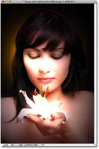 O Photoshop aplica os efeitos de iluminação na imagem quando você sair da caixa de diálogo do filtro.