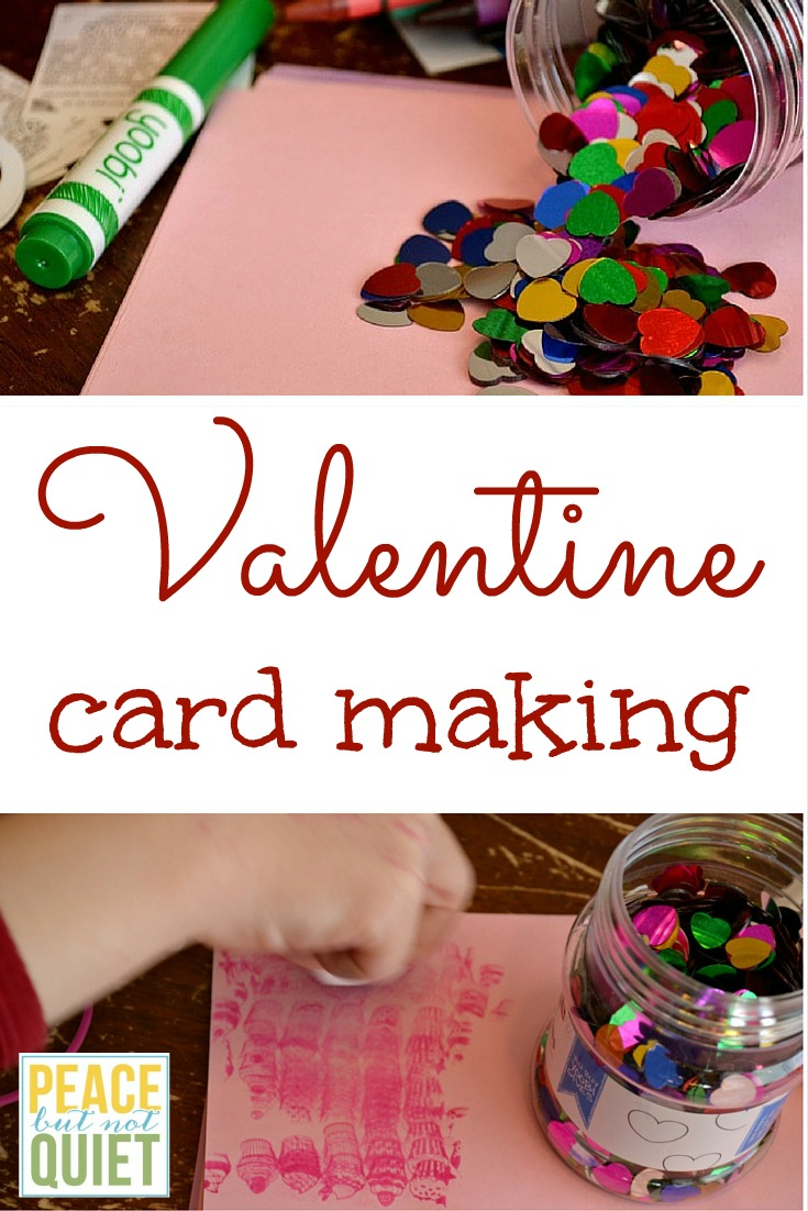 The supplies we used for making Valentine's Day cards.