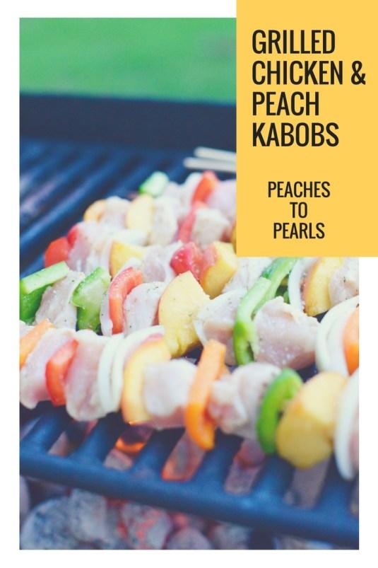 Grilled chicken & peacheskabobs