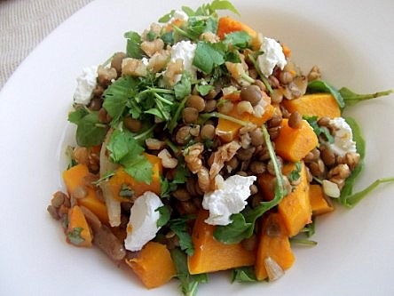 Roasted Butternut Squash, Lentil and Goats Cheese Salad (19)
