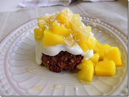Chocolate and Mango Baked Oats