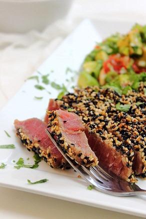 Tuna Sesame Seared Steak with Avocado Salsa (2)