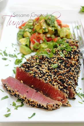 Tuna Sesame Seared Steak with Avocado Salsa (35) Title