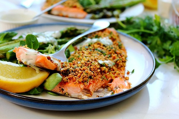 Simple Hazelnut Crusted Rainbow Sea Trout