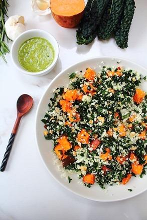 Thanksgiving Sweet Potato Kale Cauliflower Rice Salad (7)