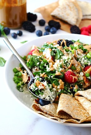 Berry Sunbutter Rice Salad Paleo with Flax Coconut Flour Wraps (15)