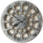 "Large Grey Handmade & Hand Painted Skeleton Wall clock - round shape, 30"" diameter."