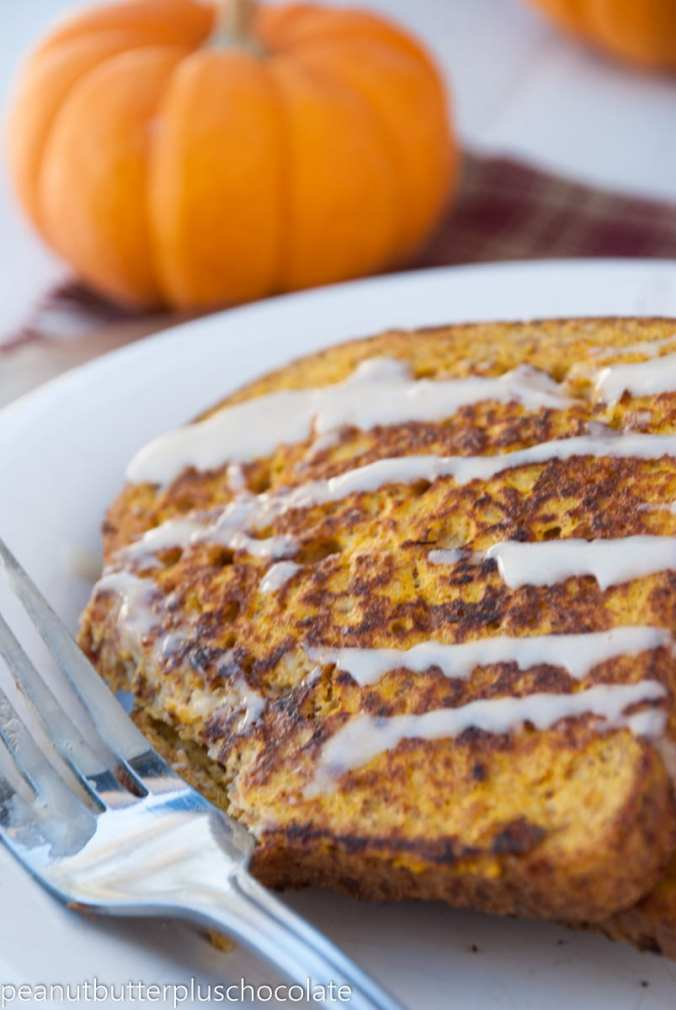 Healthy Pumpkin French Toast with Vanilla Maple Drizzle