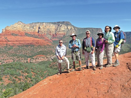Left to right: Les Reister, Jim Gillespie, Gary Bray, Beverly and Ed Kim and Lynn Warren (photographer) high on the Hangover Trail with Midgely Bridge and Wilson Mountain in the background.
