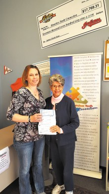 Jane Cook presented donations on behalf of the Christmas Day Potluck amounting to $1,705 to the Homeless Youth Connection.