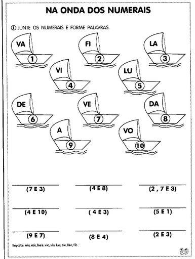 junte os numerais e forme palavras