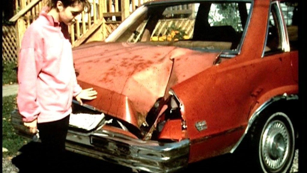 Michelle Knapp with her car, ambushed by the Peekskill meteorite.