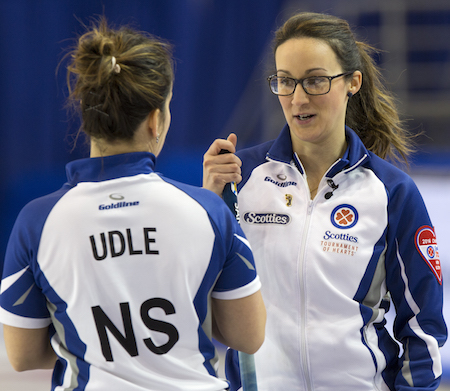 Team Nova Scotia skip Jill Brothers and lead Teri Udle in draw eleven action at the 2016 Scotties Tournament of Hearts, the Canadian Womens Curling Championships, Grande Praire, Alberta
