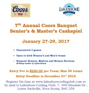 7th Annual Coors Banquet Senior's & Master's Cashspiel at Lakeshore