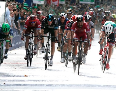 Nacer Bouhanni (Cofidis) crossed the line first but was relegated for dangerous riding and Caleb Ewan (OBE) was awarded the win in the 2016 Cyclassics Hamburg.