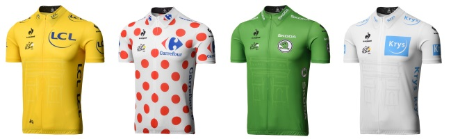 The Four Jerseys of the Tour de France. Credit: BikeRoar