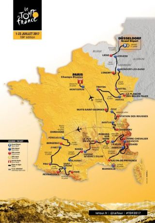 2017 Tour de France Route. Credit: Le Tour