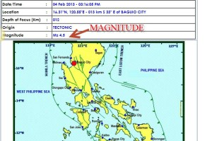 February 4 Earthquake Jolts Baguio City Intensity V (5) Info from Phivolcs