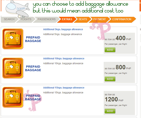 Airphil Prepaid Baggage Allowance Cost