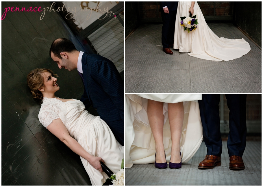 Bride and Groom in Freight Elevator
