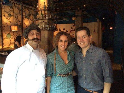 "Chef Bobby Saritsolgou with owners George and ""V"""