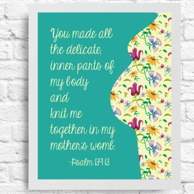 Inspirational Quote - Maternity Scripture - Wall Art - Baby Shower Gift