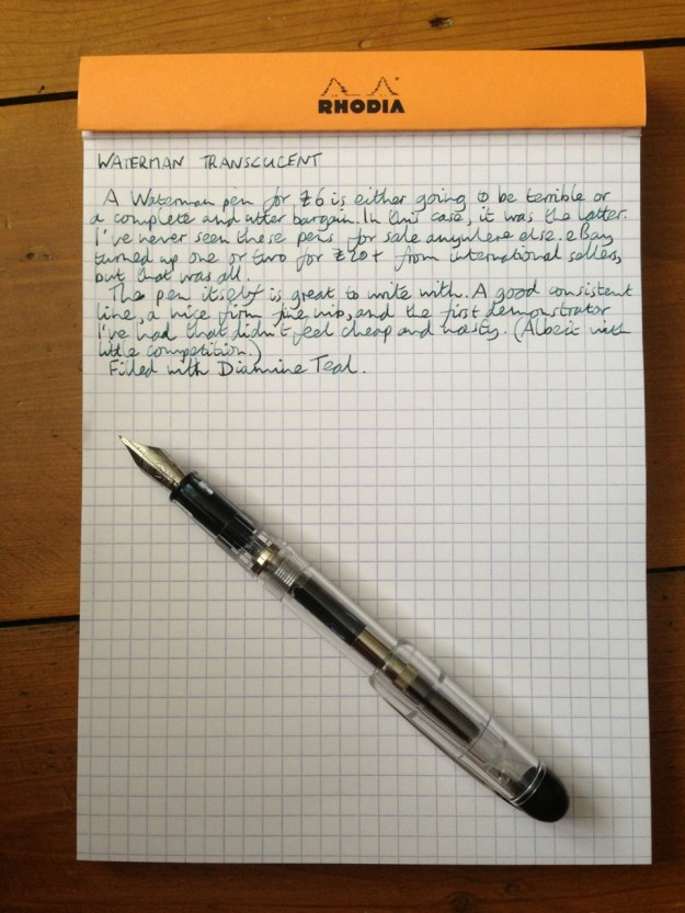 Waterman Translucent fountain pen handwritten review