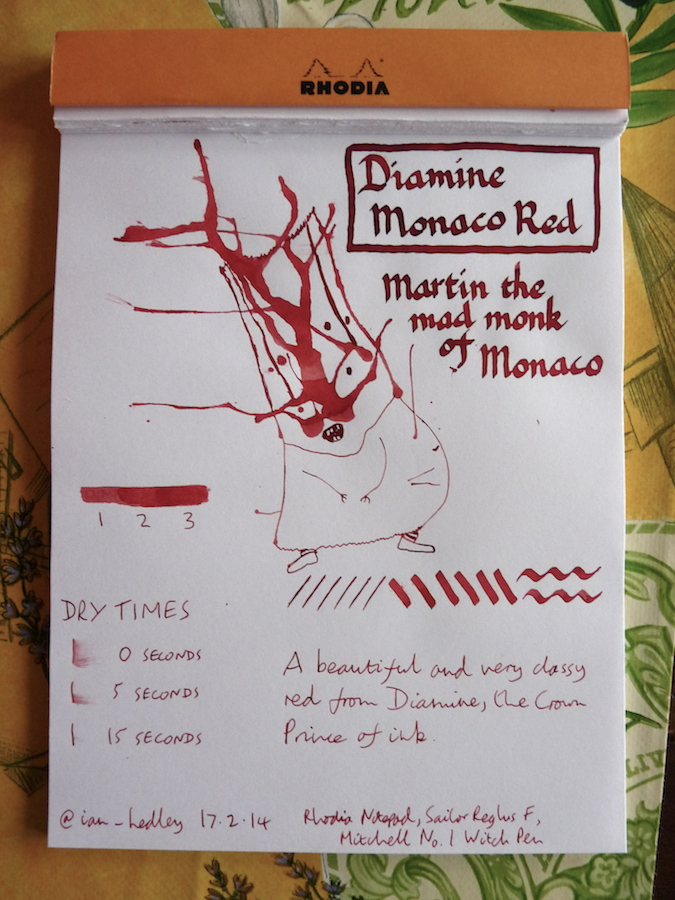 Diamine Monaco Red ink review inkling doodle