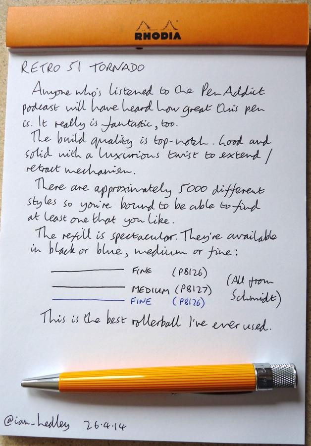 Retro 51 Tornado rollerball pen handwritten review