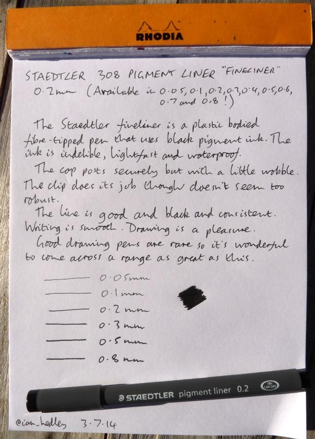 Staedtler 308 Pigment Liner handwritten review