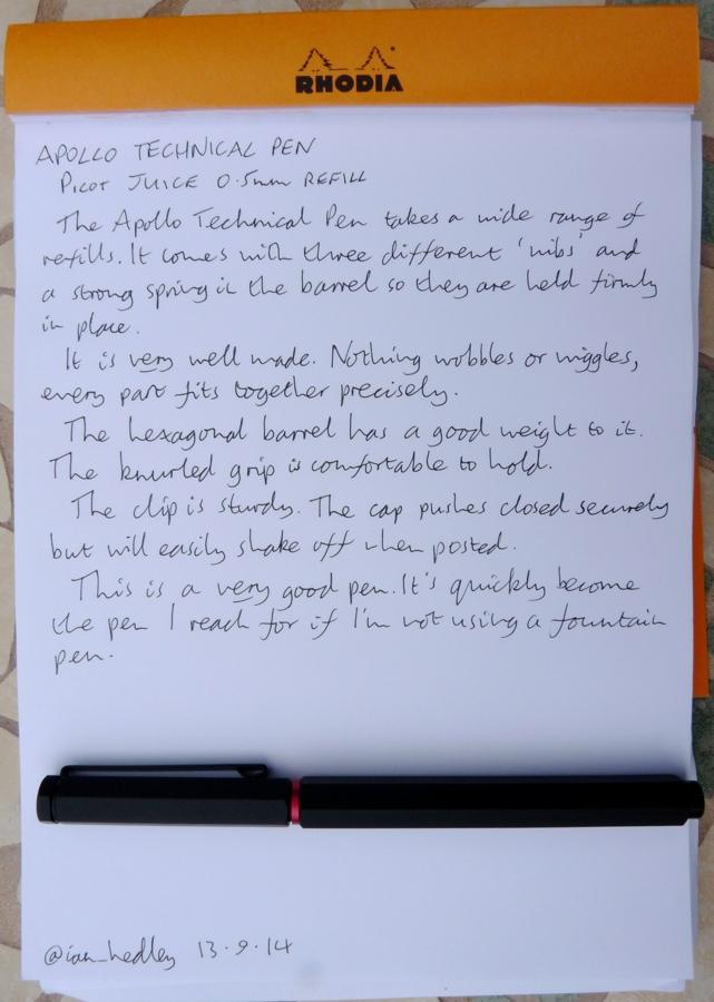 Apollo Technical Pen handwritten review