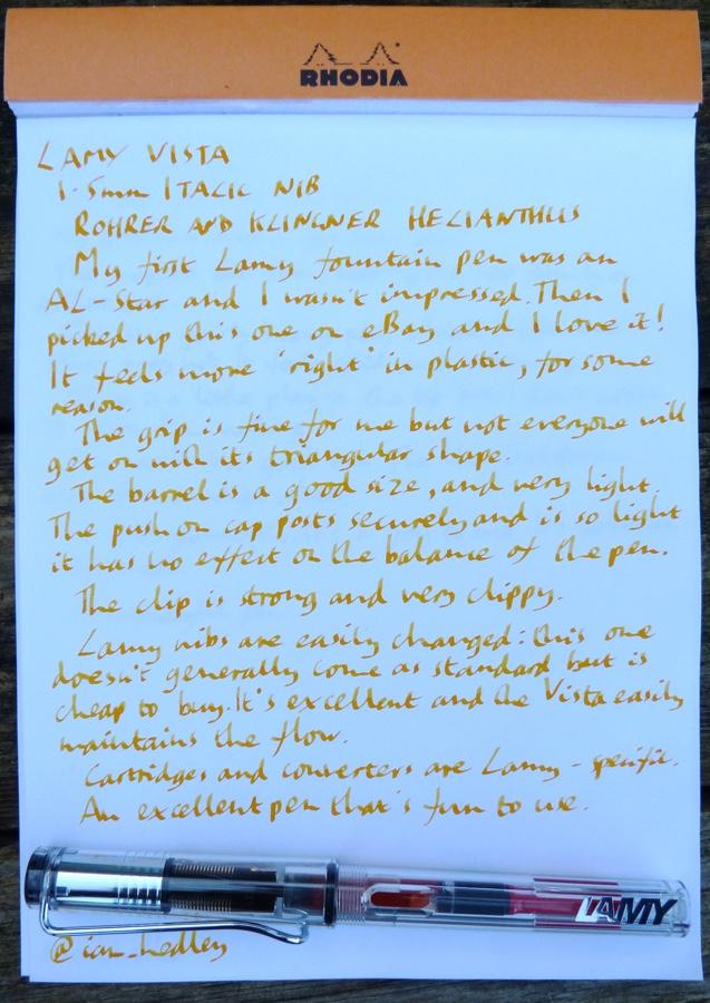 Lamy Vista FP handwritten review