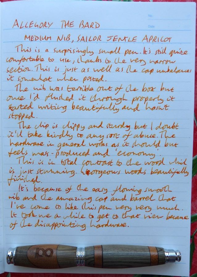 Allegory The Bard handwritten review