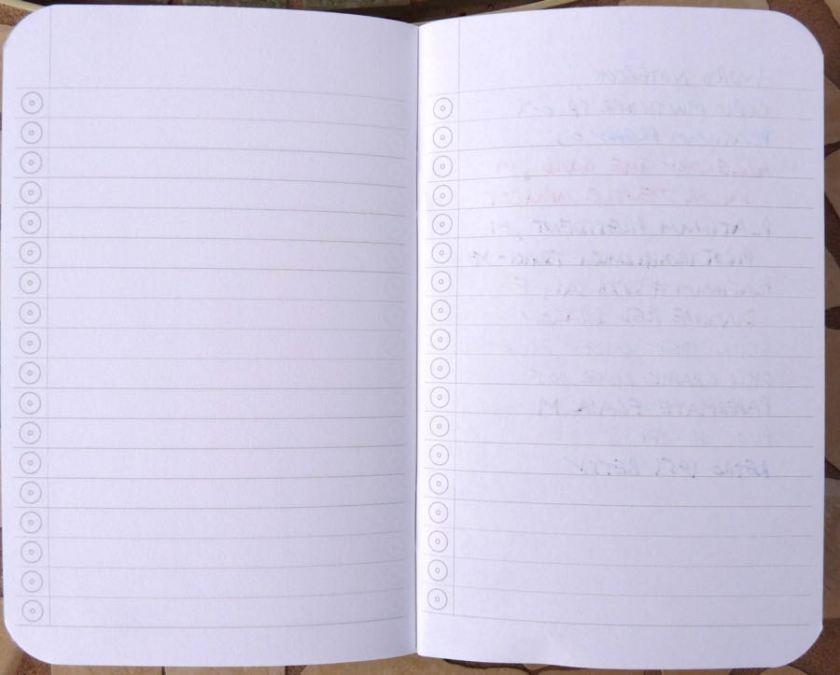 Word Notebook ink test back