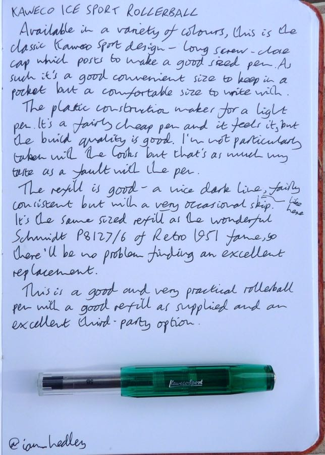 Kaweco Ice Sport Rollerball handwritten review