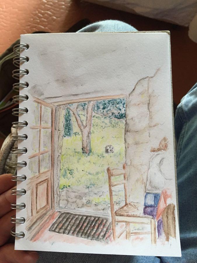 Ella sketching in France