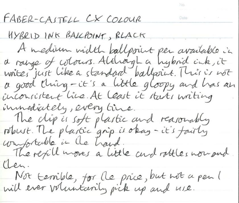 Faber-Castell CX Colour handwritten review