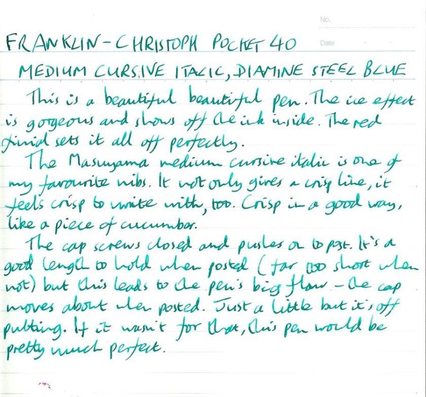 Franklin-Christoph Pocket 40 handwritten review