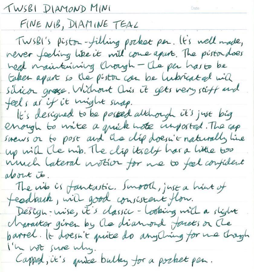 TWSBI Diamond Mini handwritten review