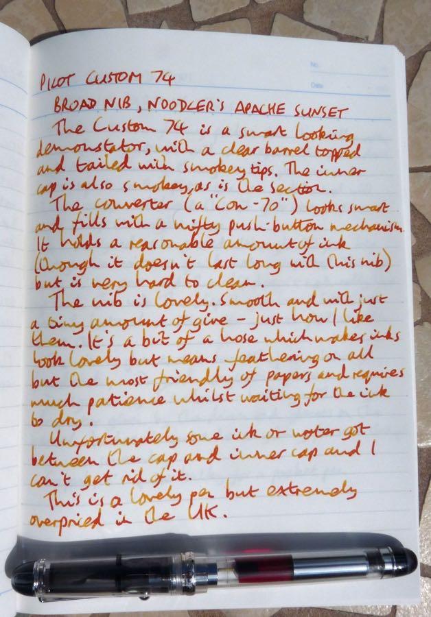 Pilot Custom 74 handwritten review
