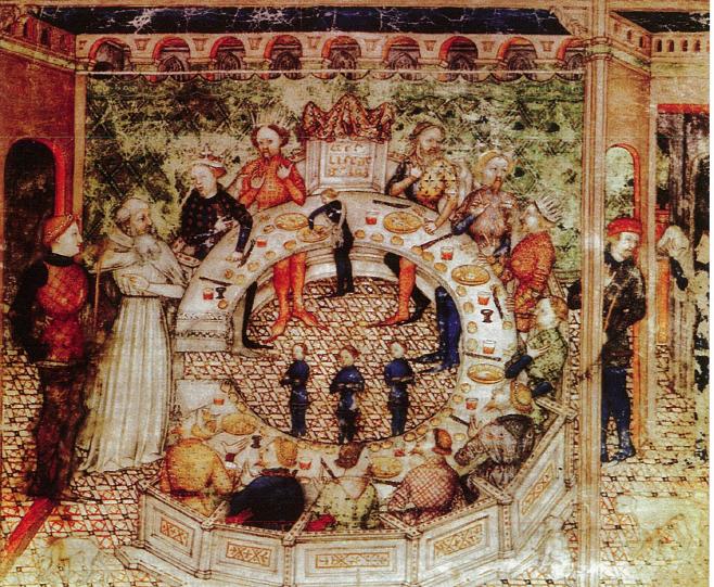 Galahad voegt zich bij deTafelronde en bezet de lege zetel.  Italië, ca. 1390.