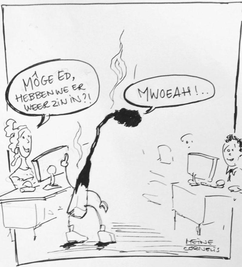 Bij ZZPers helft minder burnout verschijnselen [cartoon Meine van de Graaf]