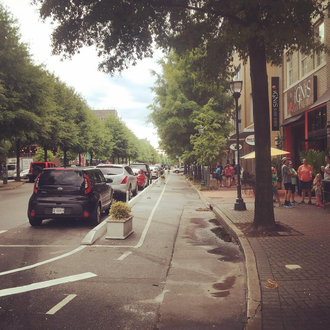 "Fully protected bike lanes in Chattanooga. Unlike my ""progressive"" hometown @cityofsantacruz"