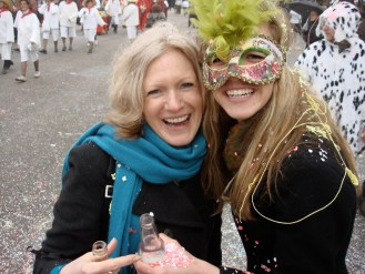 Is that confetti in my Corona?! Here, my mom and I are at Carnival in Viareggio, Italy.