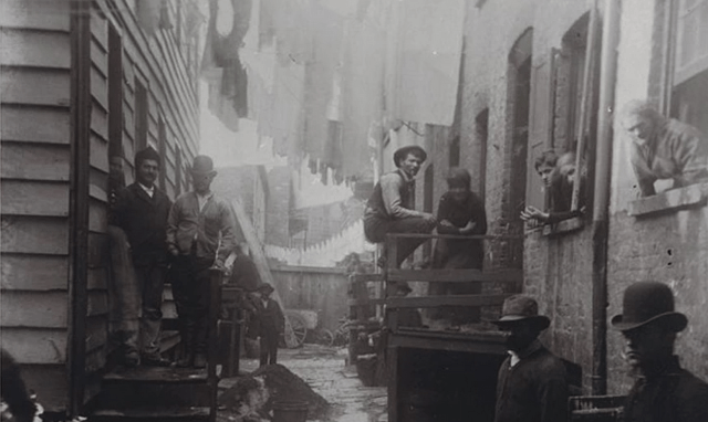 In 1888, Jacob Riis went to Bandit's Roost at 59½ Mulberry Street, considered the most dangerous and crime-ridden part of New York City, to show the middle classes how less fortunate people were living. Photograph: Jacob Riis