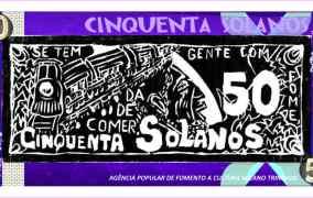 Moeda solidária - Nota de 50 Solanos. Reprodução
