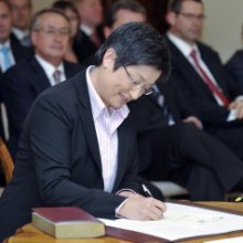 Penny at the swearing in ceremony for the 43rd Parliament - potentially writing in Australian (via http://www.pennywong.com.au)
