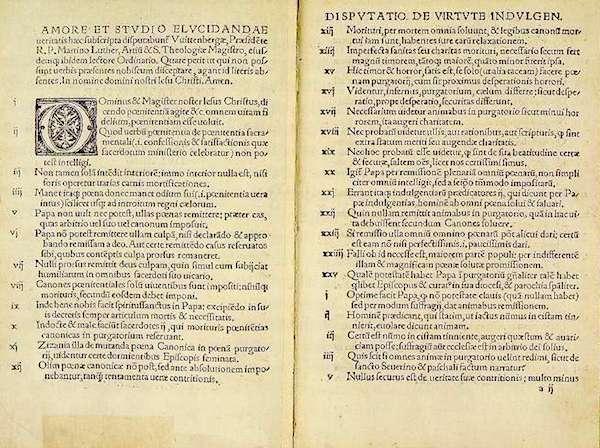 Facsimil de las 59 tesis de Lutero